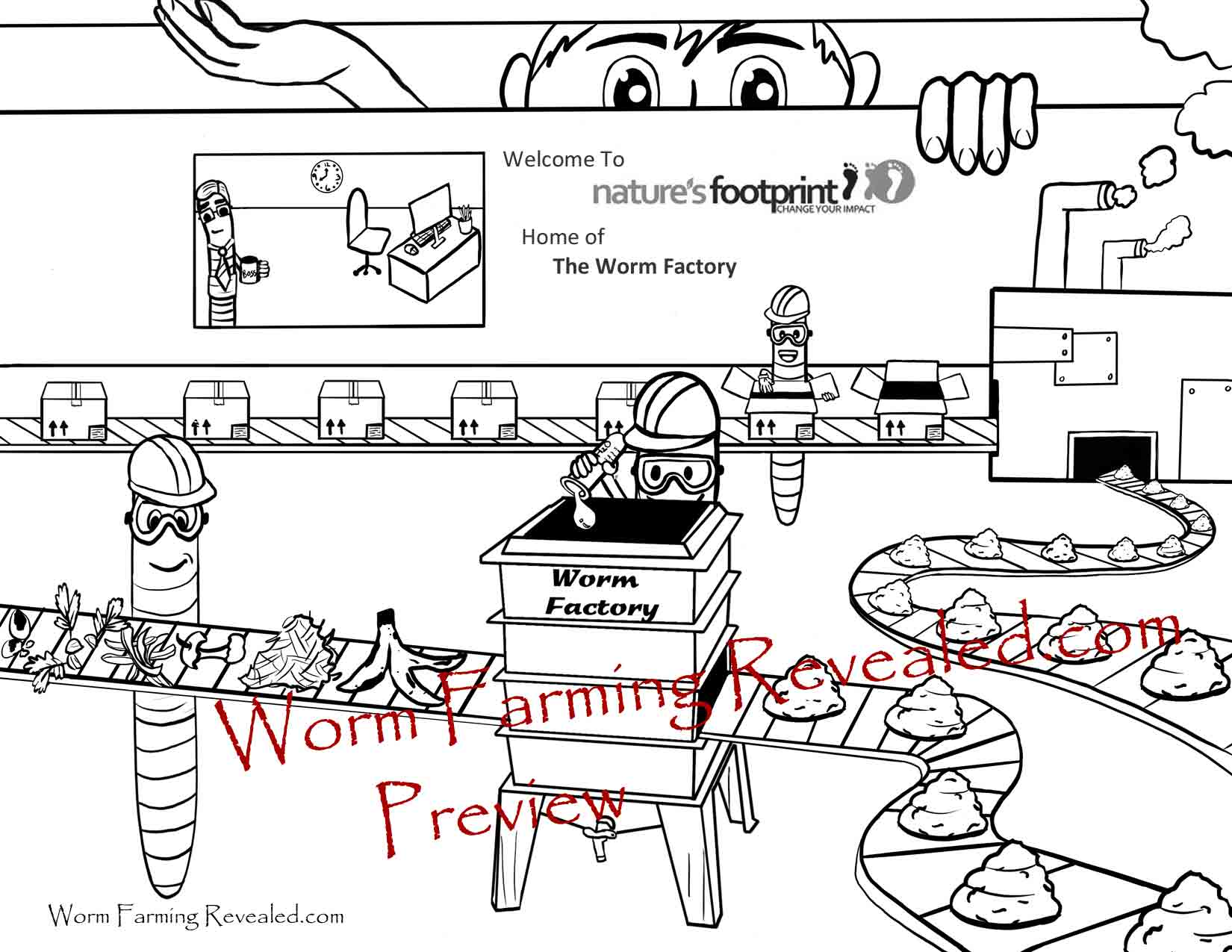Worm Factory Coloring Page