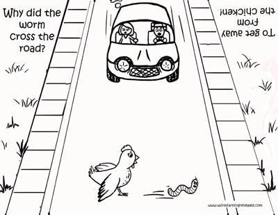 Chicken Cross the Road Coloring Page
