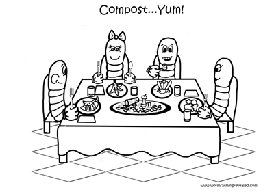 Worm Coloring Pages Family Dining