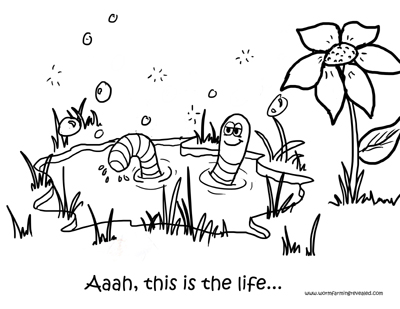 worm bath coloring page