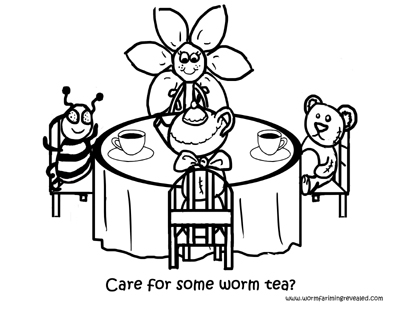 worm tea party coloring page - Princess Tea Party Coloring Pages