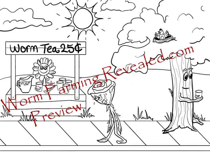 Worm Tea Stand Coloring Page
