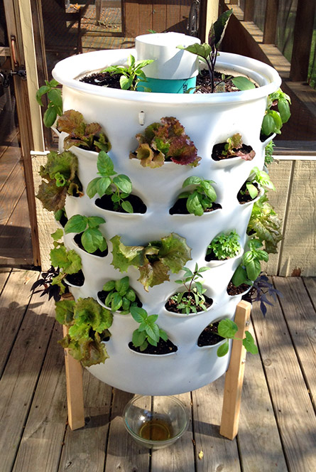 Full view of a white garden tower