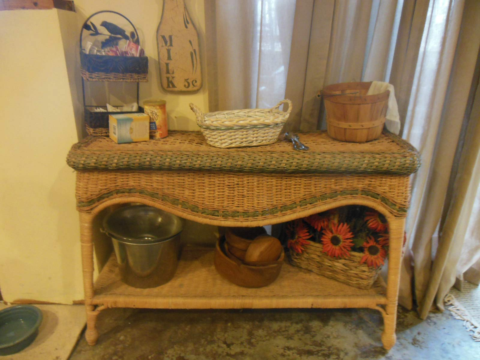 Lovely wicker table from a farm house
