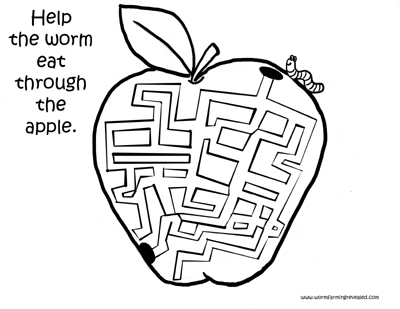 Worm Coloring Pages Apple Maze