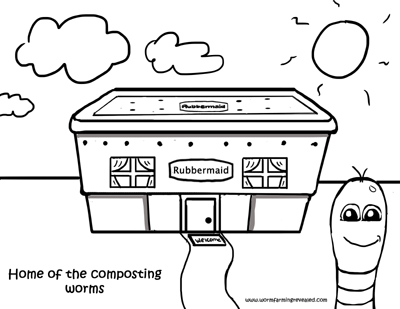 Worm Coloring Pages Rubbermaid Worm House