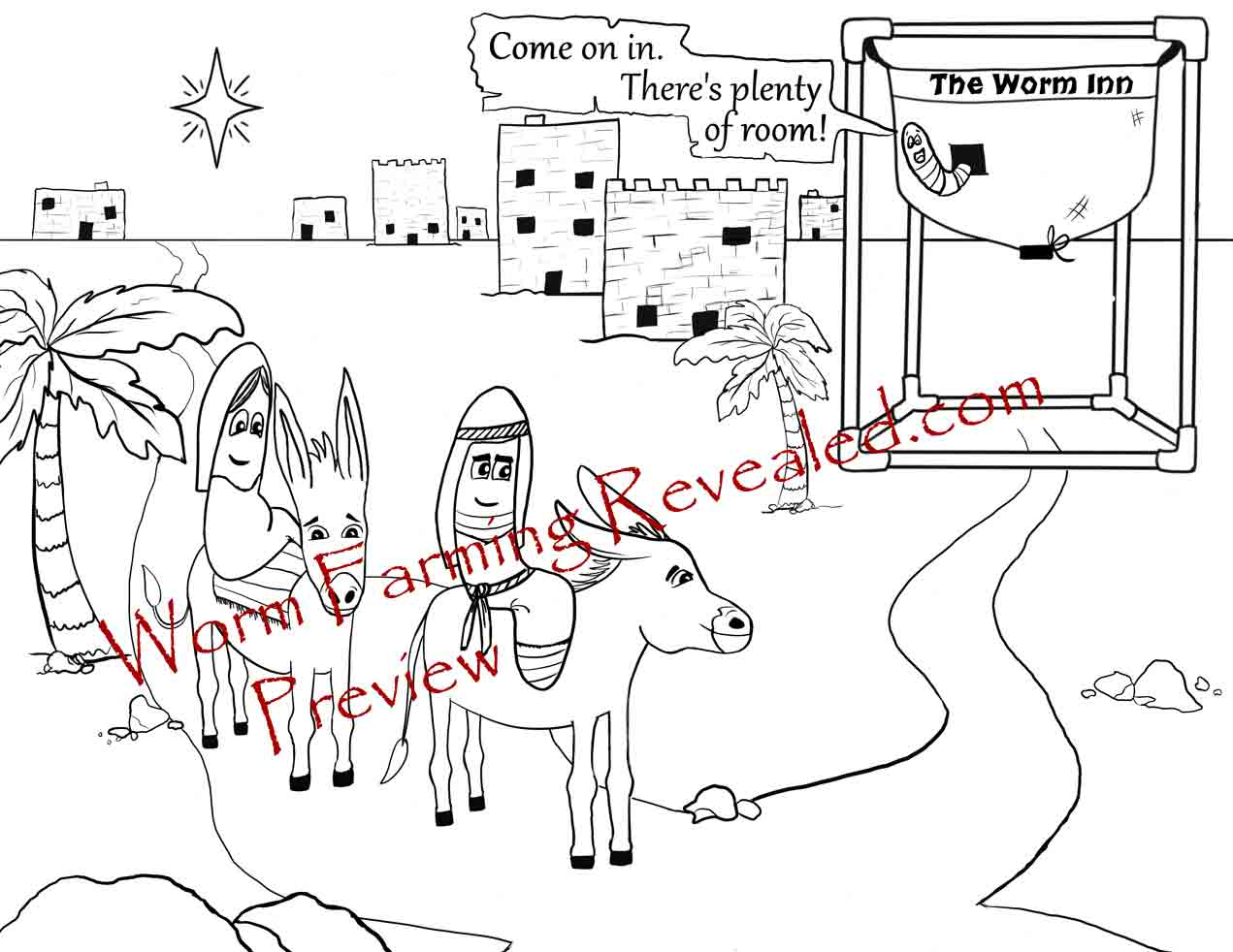 Worm Inn Coloring Page